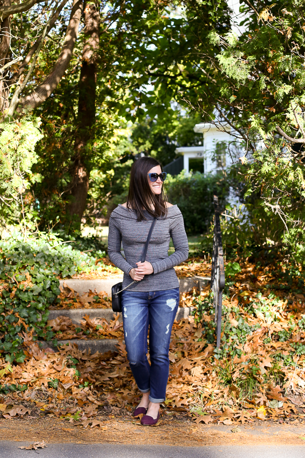 Fall Outfit, How to Wear Jeans and an Off the Shoulder Top for Fall, Ways to Wear and Off the Shoulder Top