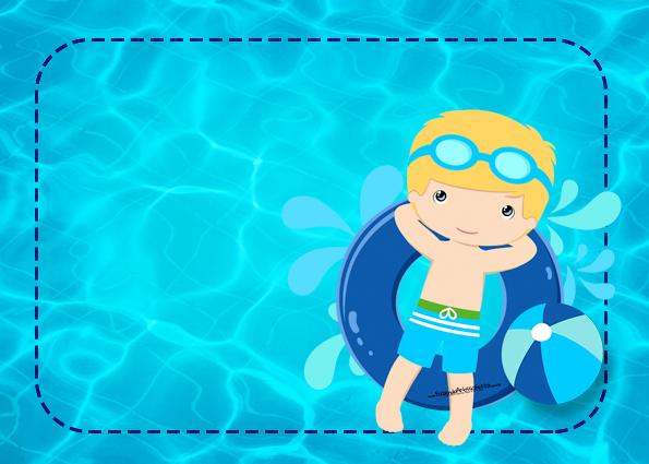 Fiesta en la piscina para ni o rubio invitaciones para for Fondos de piscinas dibujos