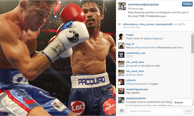 Manny Pacquiao and Floyd Mayweather Jr Fight 'Let's Get in the Ring' on Instagram