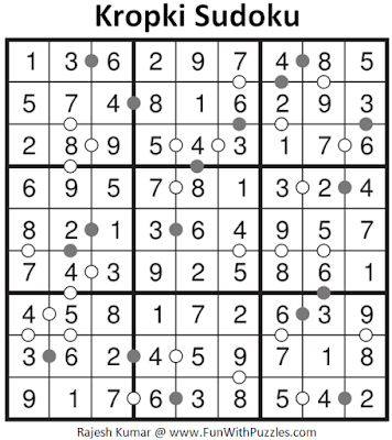 Answer of Kropki Sudoku Puzzle (Fun with Sudoku #307)