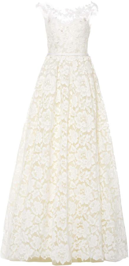 Mira Zwillinger Emily Floral-Appliquéd Lace Gown