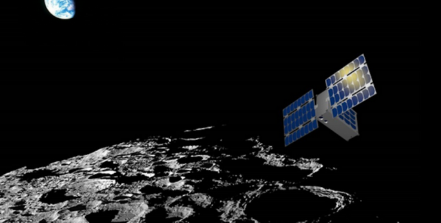 Artist's rendering of the LunaH-Map spacecraft. Image Credit: NASA