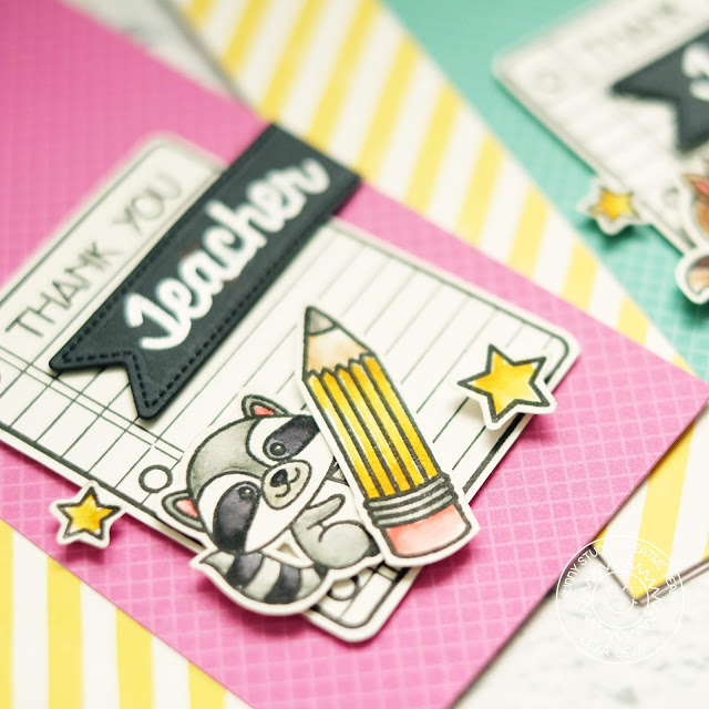 Sunny Studio Stamps: Critter Campout School Time Teacher Themed Thank You Cards by Lexa Levana