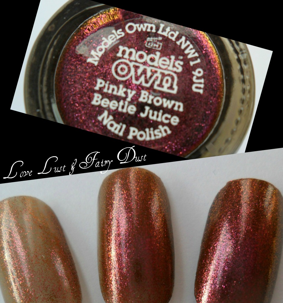 models own beetle juice pinky brown swatch