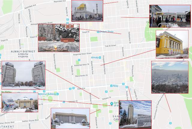 Map of things to see in Almaty during winter time.