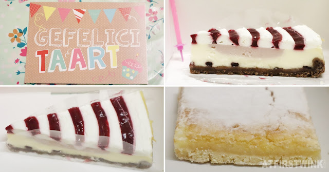 Koekela free birthday slice of cake card candle lemon bar raspberry white chocolate cheese cake