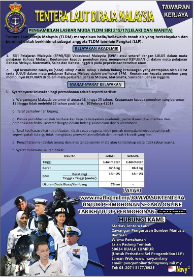 Rasmi - Jawatan Permohonan (Laskar Muda) TLDM Terkini 2019