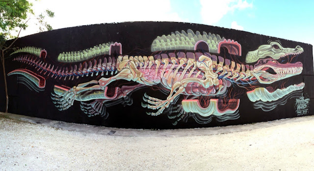 """""""Dissection Of An Alligator"""" New Street Art Mural by Nychos in Miami, USA."""