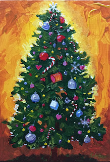 holiday painting, art by Kath, tree decorations