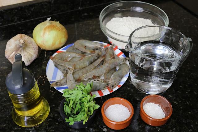 Ingredientes para tortillitas de gambas o langostinos