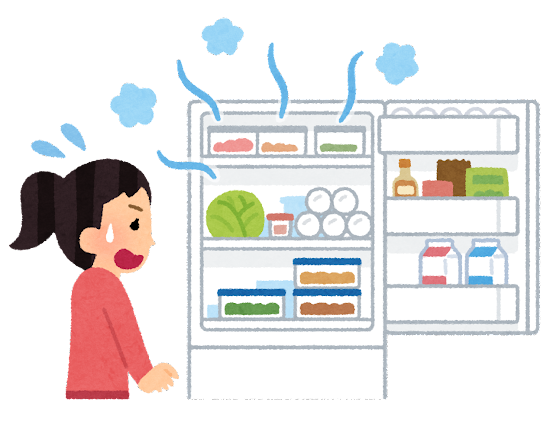 開けっ放しの冷蔵庫に気がついた人のイラスト