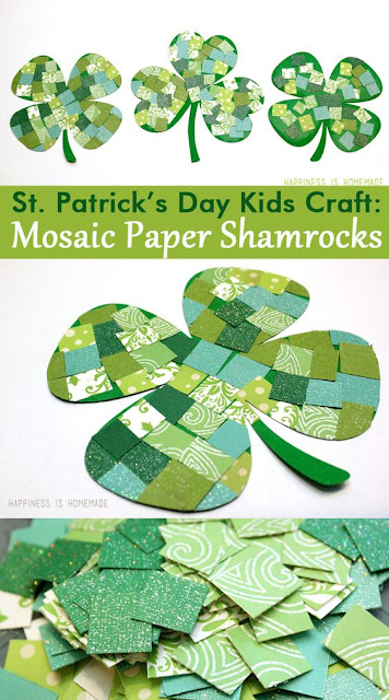 Adorable shamrock idea for kids of all ages!  I love using different pieces of green scrapbook paper.
