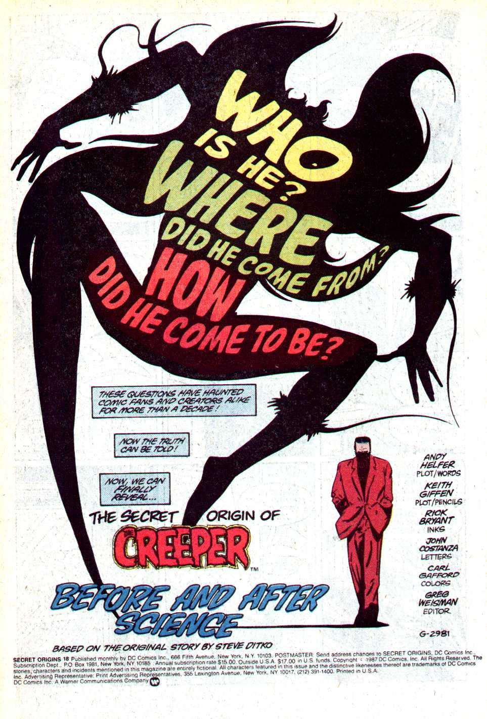 Read online Secret Origins (1986) comic -  Issue #18 - 2