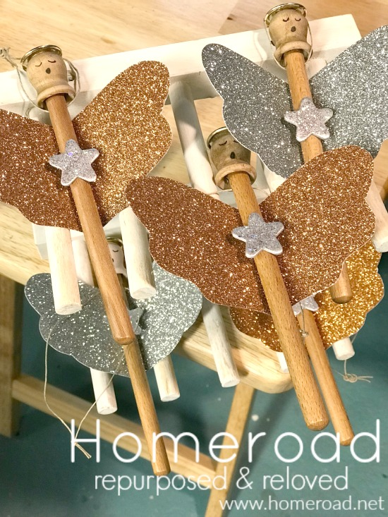 DIY Glitter Wing Christmas Angel Ornaments