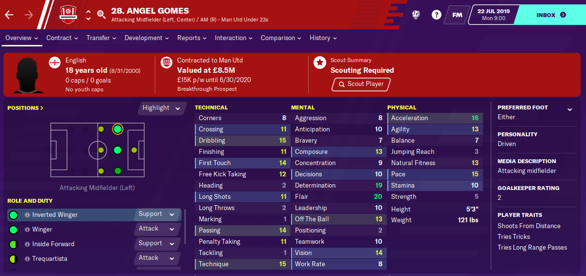Angel Gomes: Starting Attributes in FM2020