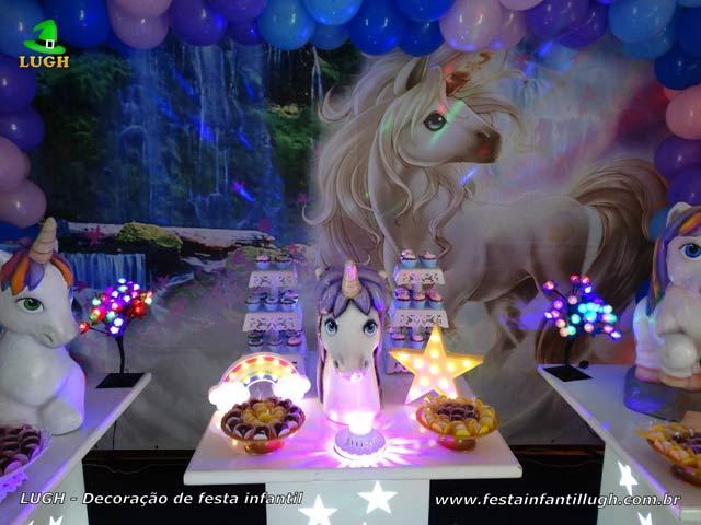 Decoração de festa Unicórnio para aniversário feminino