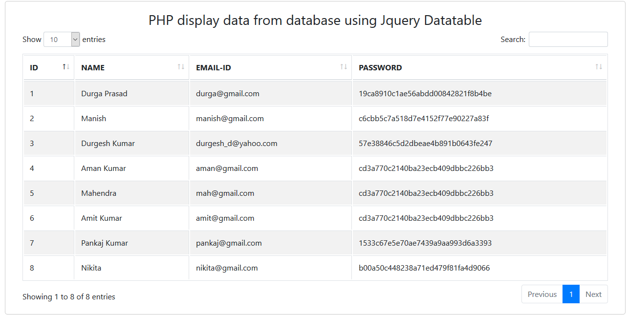 How to fetch data from database using datatable in php