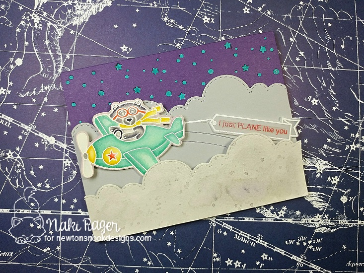 Bear driving Airplane Card by Naki Rager | Winston Takes Flight stamp set and Sky Borders die set by Newton's Nook Designs #newtonsnook