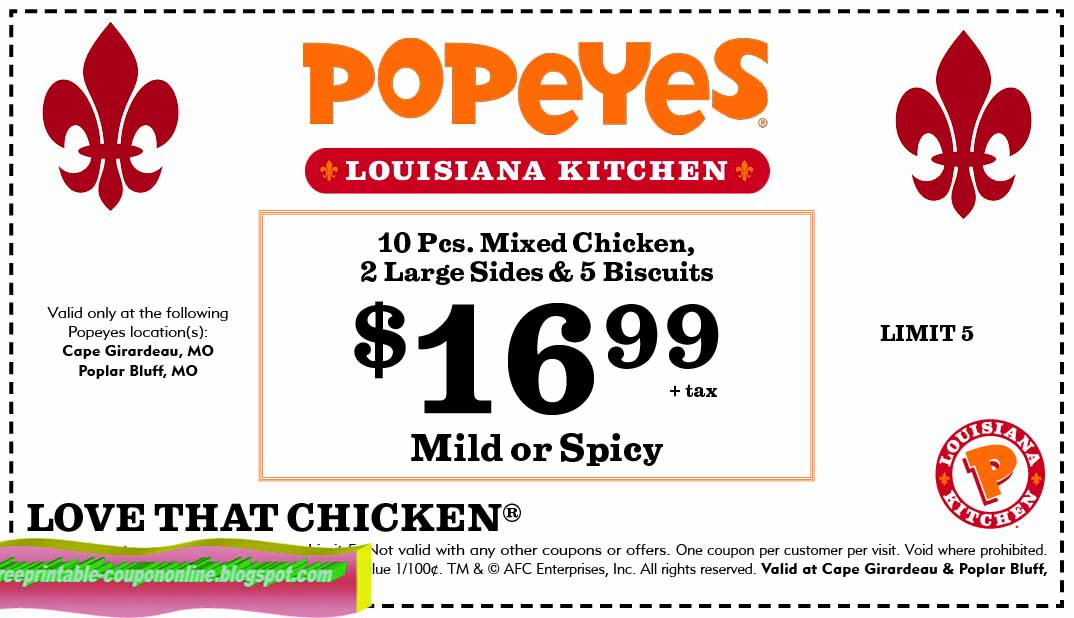 Print out coupons for Popeyes. BeFrugal updates printable coupons for Popeyes every day. Print the coupons below and take to a participating Popeyes to save.