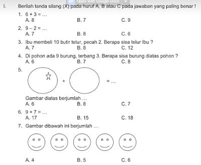 Contoh Soal dan Jawaban Ulangan Tengah Semester Kelas 1 Mata Pelajaran Matematika, https://www.guruenjoy.com/