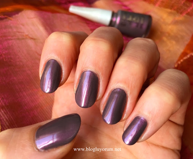 flormar pearly nail enamel PL418 chrome purple oje swatch