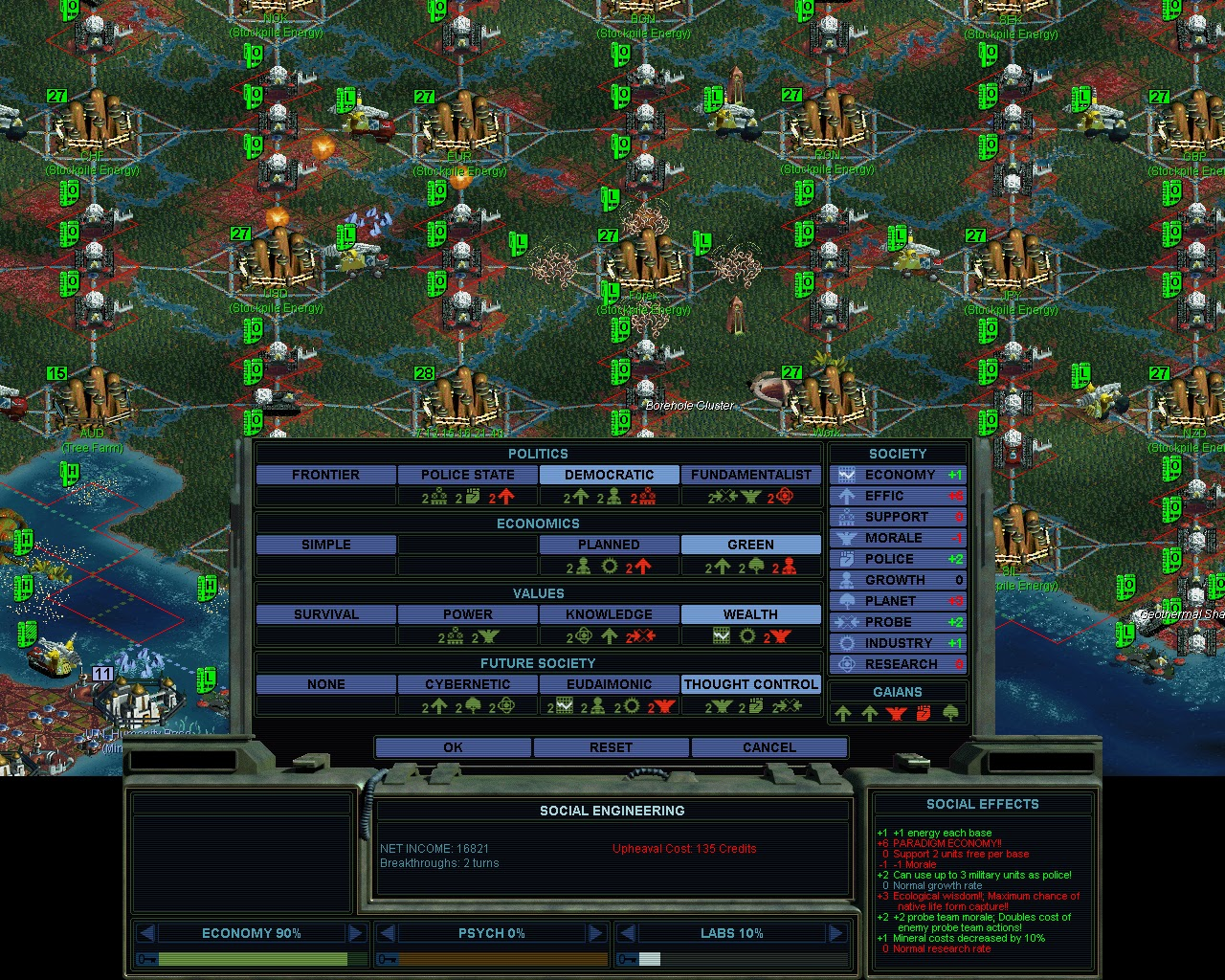 Sid Meier's Alpha Centauri - Society Options Screenshot