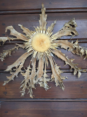 Dried Carlina acaulis decorates the door of La Bifora e Le Lune