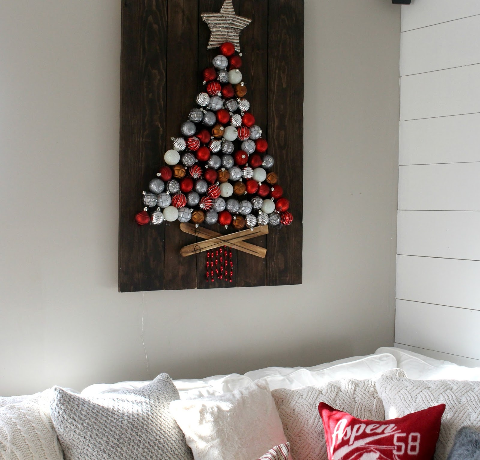 Christmas tree ornament display - I Am Honestly More In Love With The Final Project Then I Thought I Would Be I Don T Have A Large Mantel Or Shelf So We Hung Ours On The Wall And
