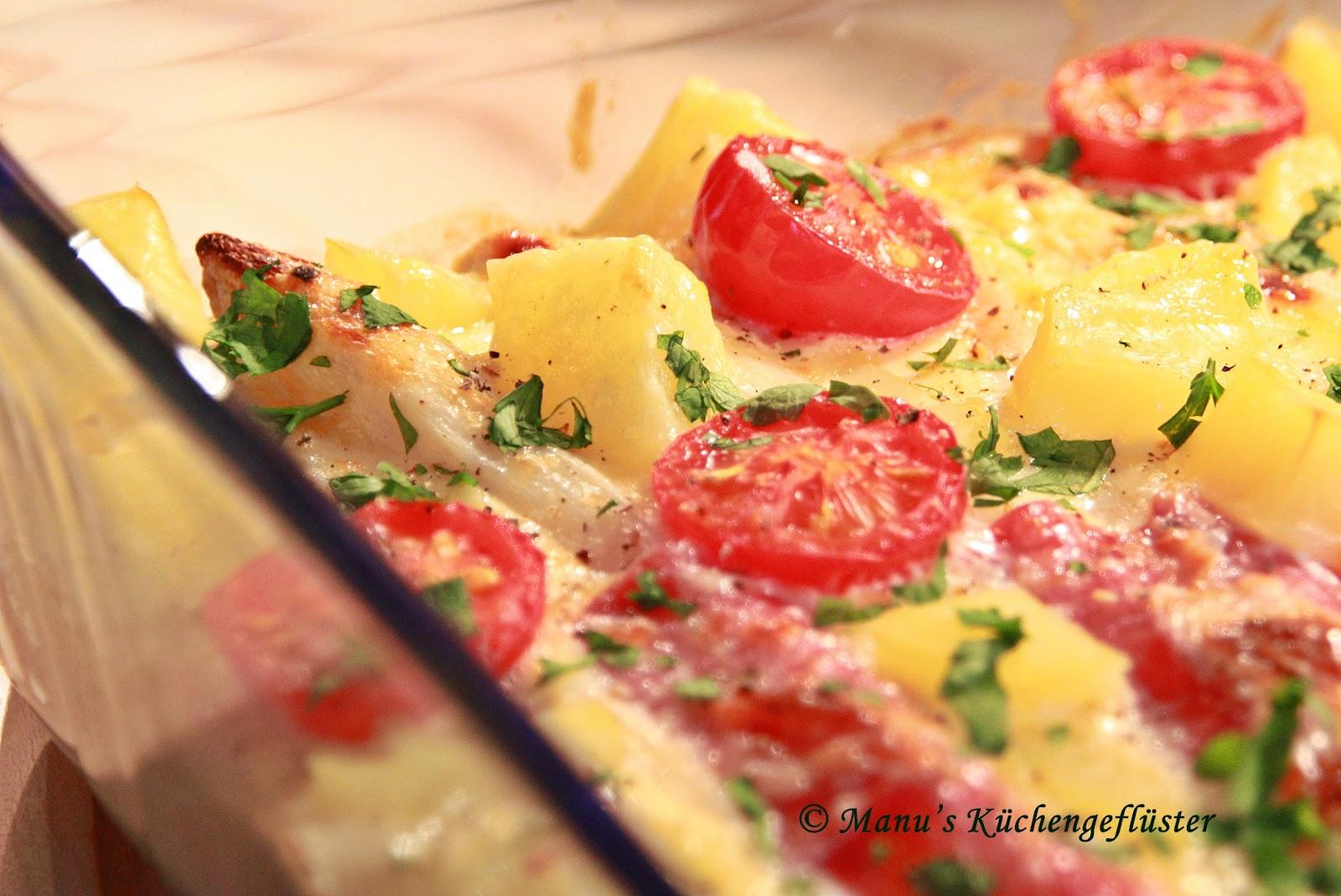 seele mit schinken und käse überbacken