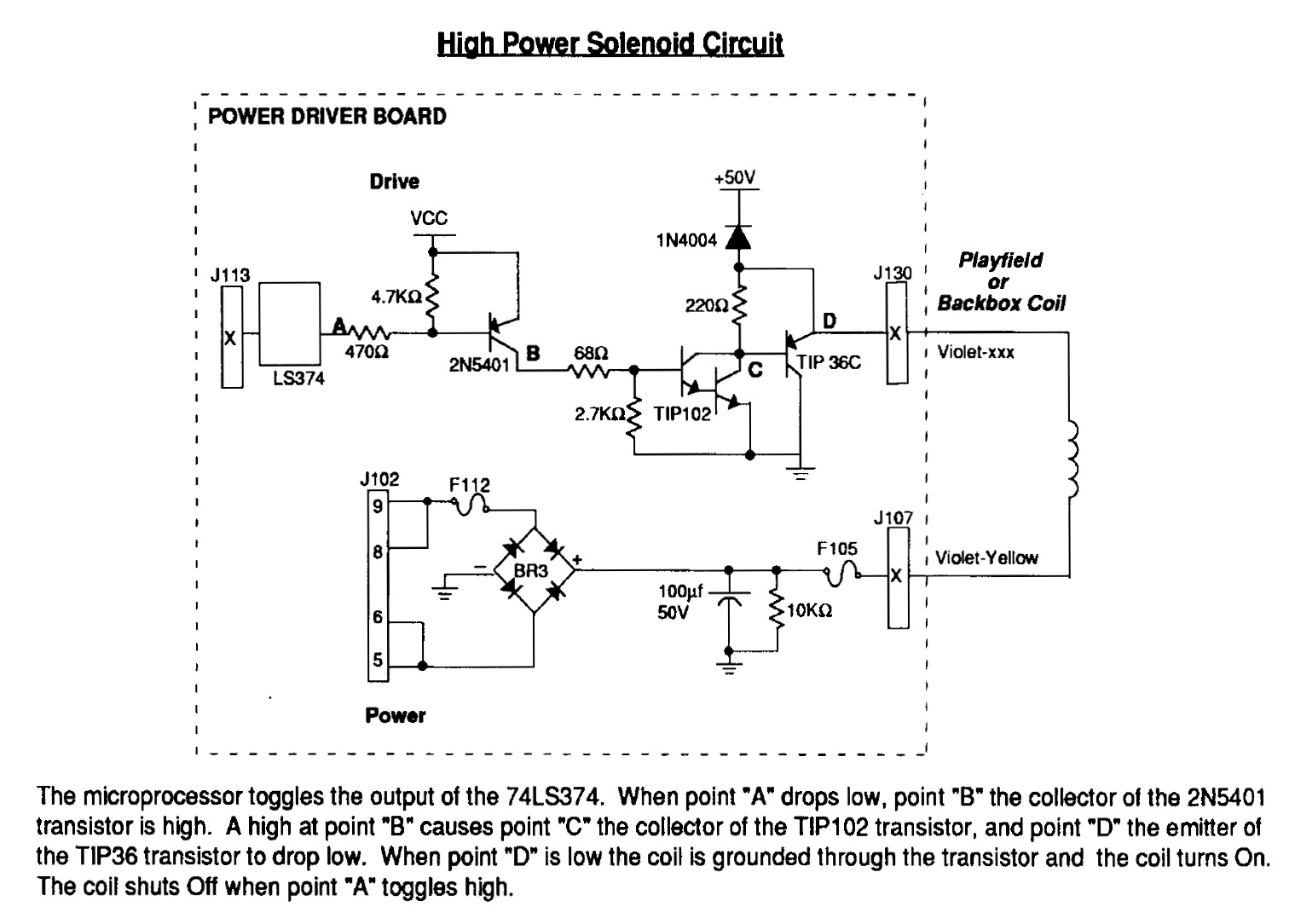 Pinball Chameleons Guide To Diy Machine Construction The Solenoid Schematic Williams High Power Circuit 50v Flows Directly Playfield Coil Making Live And From A Tip36c Pnp