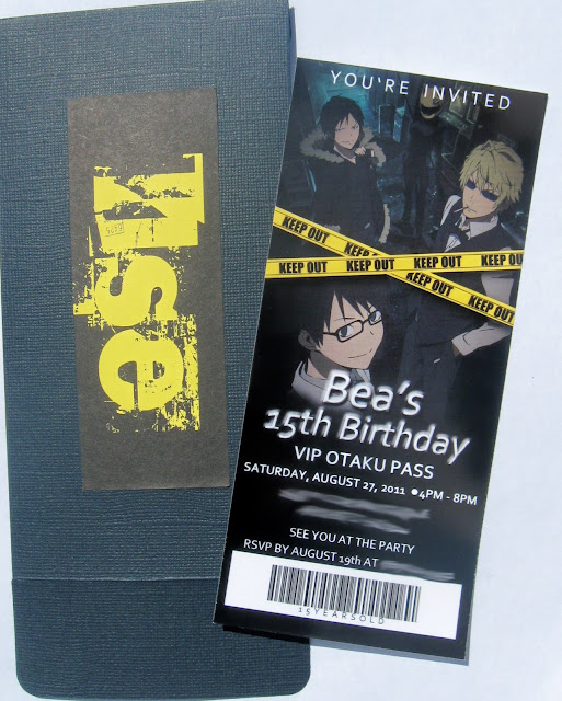 This is an anime/movie themed birthday party invitation, it has the characters of Durarara!! on it.