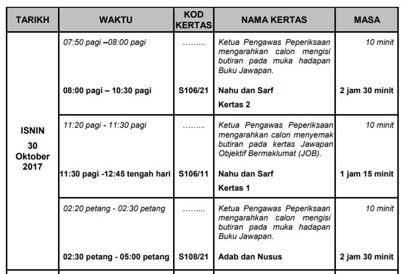 Jadual Peperiksaan STAM 2017 tarikh ujian