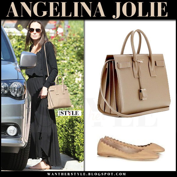 Angelina Jolie in black top, black maxi skirt and beige leather tote saint laurent what she wore