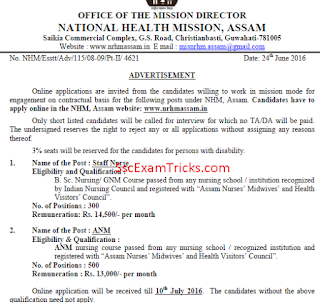 nrhm assam recruitment 2016