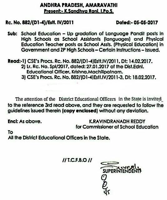 Andhra Pradesh/AP Upgradation of Language Pandits/PETs Revised Guidelines/Instructions as per RC.No:882.