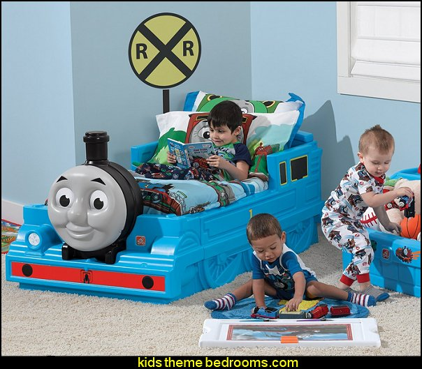 Step2 Thomas The Tank Engine Toddler Bed  Train themed bedroom decorating ideas - boys bedroom train theme decor  - train themed beds - train themed furniture - train theme bedding - train theme decorations - Thomas the tank bedroom - Thomas the tank theme bed - old world train themed bedroom - vintage style trains wall murals - choo choo trains wall decal stickers - Train Theme furniture