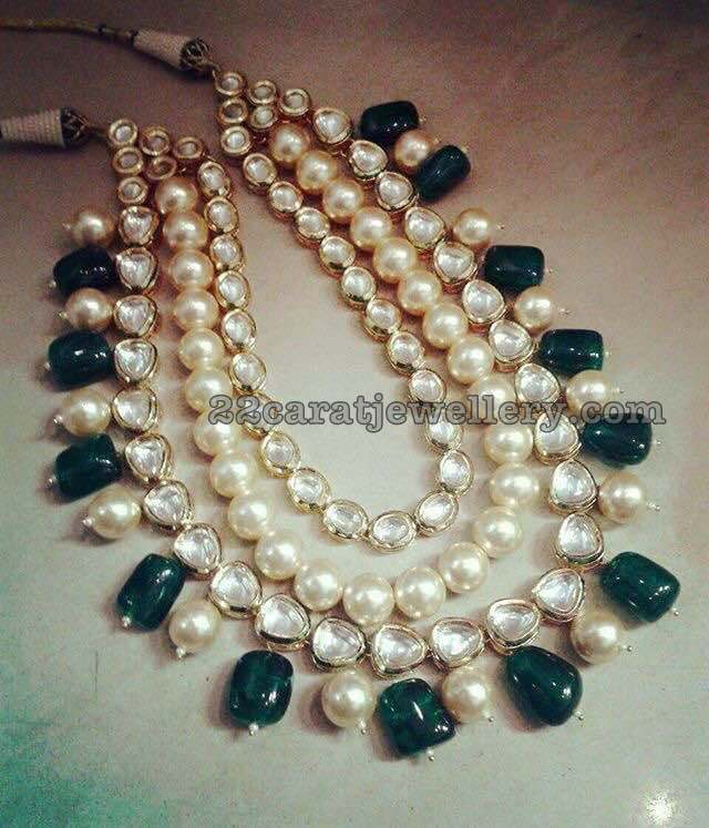 Pearls and Polki Multi Layers Necklace