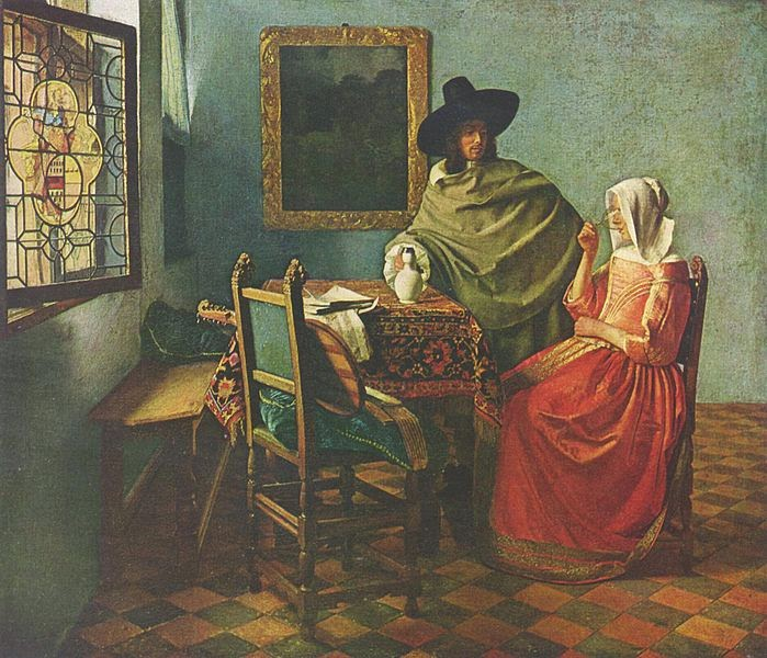 Homem , Mulher e Vinho - Vermeer, Jan e suas principais pinturas