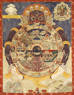 Depiction of the Wheel of Existence, showing the six realms of existence, with the god of death Lord Yama in attendance. Wikipedia: a thangka is a Tibetan Buddhist painting on cotton, or silk appliqué, usually depicting a Buddhist deity, scene, or mandala.