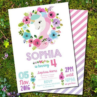 Unicorn Party Fiesta Temática de Unicornio Invitaciones Invitations