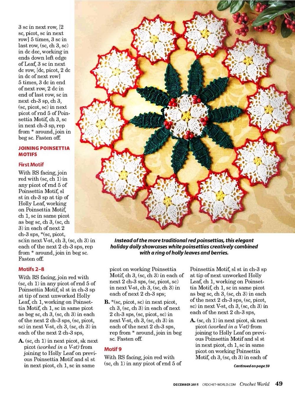 Tapete crochet Poinssentia para Navidad