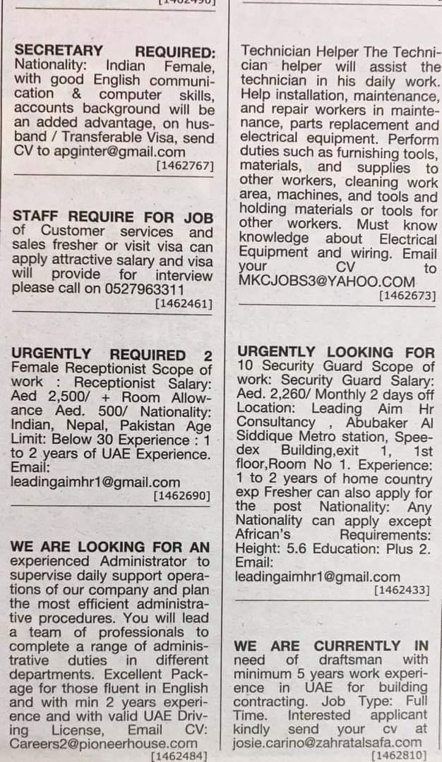 Required Following Staff in UAE Local Hiring Jobs Khaleej