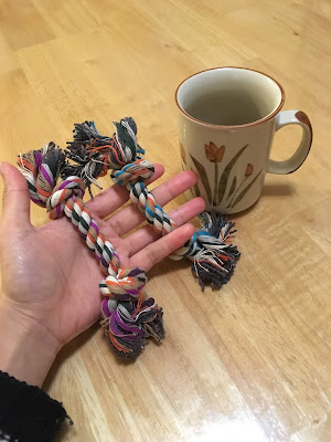 2 tiny rope toys are held in an open hand next to a coffee mug for scale. They are only slightly bigger than the hand.