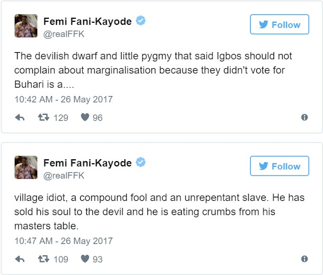 You have sold your soul to the devil – Fani-Kayode blasts Buhari's minister for comments about Igbo marginalisation