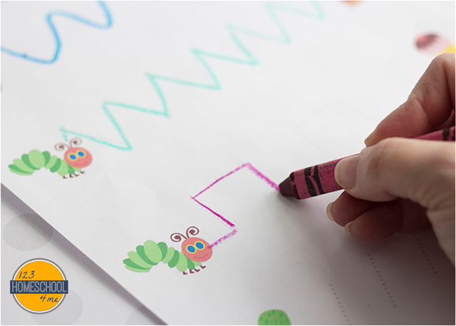 pre writing tracing worksheets for toddler, preschool, prek with a fun spring, hungry caterpillar theme