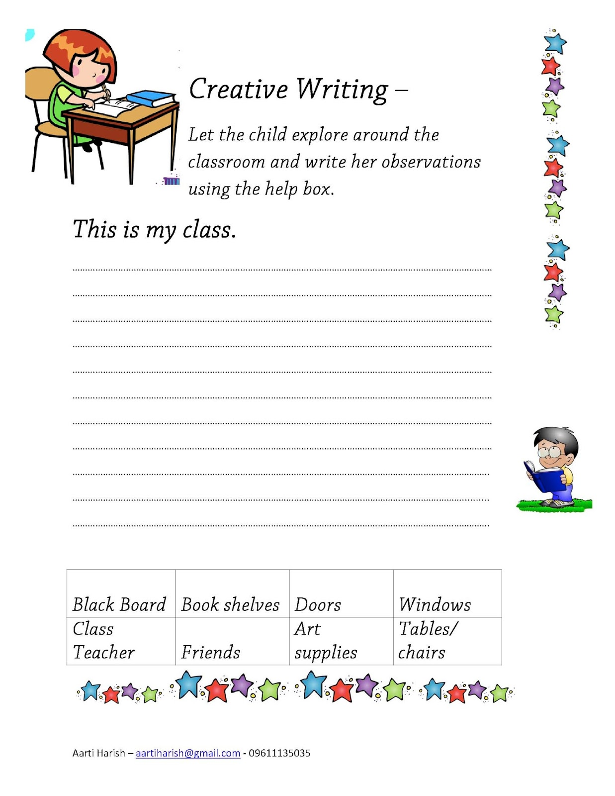 Arty Writing Sample Worksheets For Global Classroom