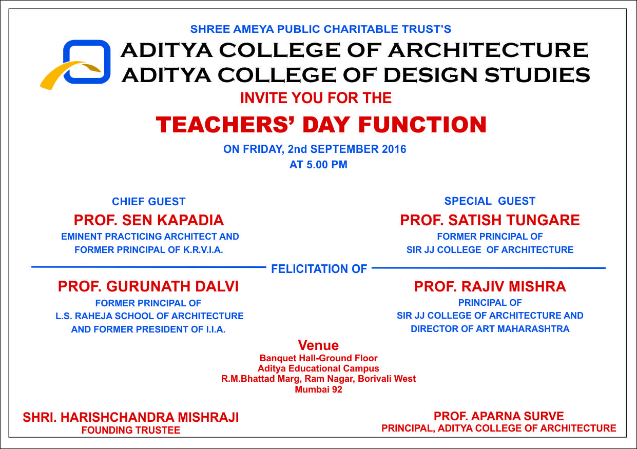 Aditya college of architecture mumbai invites teachers of veteran architect and educationist ar sen kapadia will be gracing the ceremony as the chief guest and eminent educationist ar satish tungare will be the stopboris Image collections