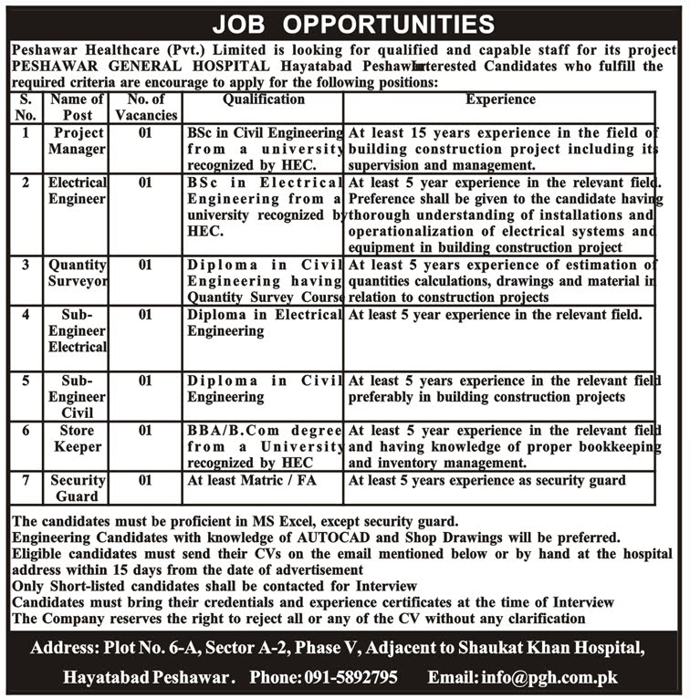 General Hospital Hayatabad Peshawar Jobs March 2019
