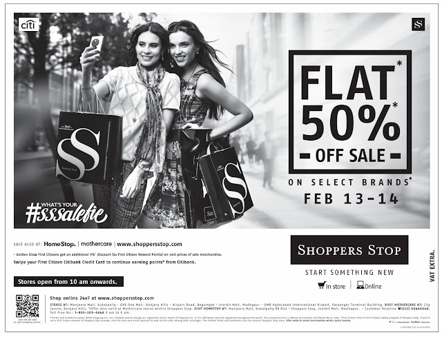 Flat 50% discount offer in Shoppers Stop | February 2016