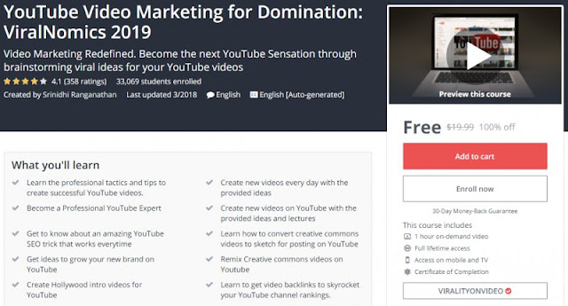 [100% Off] YouTube Video Marketing for Domination: ViralNomics 2019| Worth 19,99$